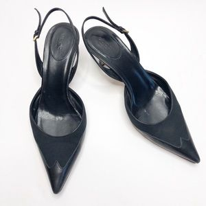 Gucci Black Leather Pointed Toe Slingback Heels